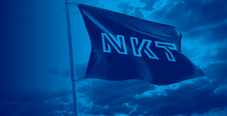 NKT flag flying in the wind with grey sky