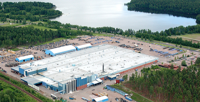 Aerial photo of telecom cable production facility in Falun